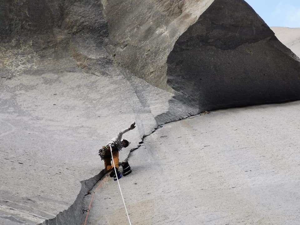 Cait Horan, Greg Fisher, and Peter Blunt climbing the Nose on El Capitan, September 2019.